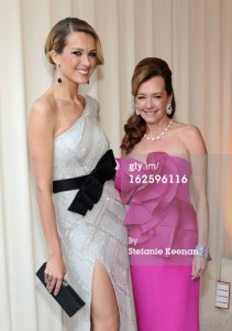 Petra nemcova with Caroline Scheufele co-president and Artistic Director of Chopard. Petra wore Chopard earrings and ring.